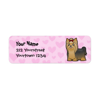 Yorkshire Terrier Love (longhair with bow) Return Address Label