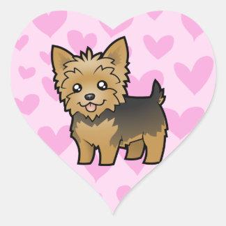 Yorkshire Terrier Love (short hair no bow) Heart Sticker