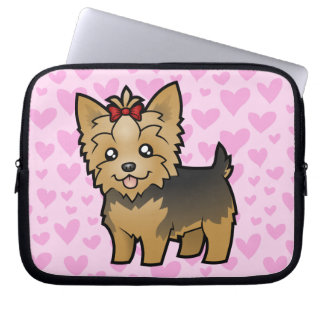Yorkshire Terrier Love (short hair with bow) Laptop Sleeve