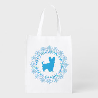 Yorkshire Terrier Merry Christmas Reusable Tote