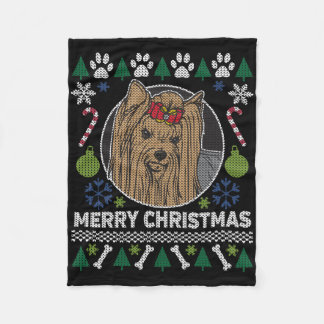 Yorkshire Terrier Merry Christmas Ugly Sweater Fleece Blanket