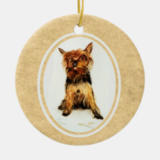 Yorkshire Terrier Painting Christmas Tree Ornament