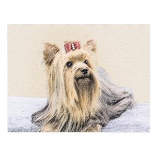 Yorkshire Terrier Painting - Cute Original Dog Art Postcard