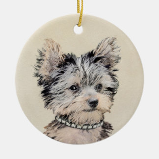 Yorkshire Terrier Puppy Ceramic Ornament