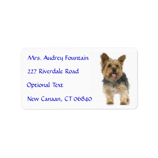 Yorkshire Terrier Puppy Name Address Mailing Label Address Label