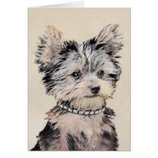 Yorkshire Terrier Puppy Painting Original Dog Art Card