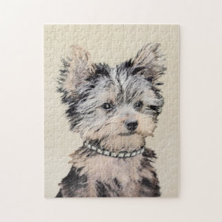 Yorkshire Terrier Puppy Painting Original Dog Art Jigsaw Puzzle
