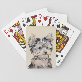 Yorkshire Terrier Puppy Painting Original Dog Art Playing Cards