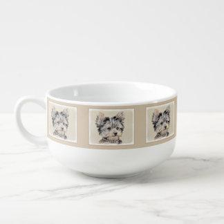 Yorkshire Terrier Puppy Painting Original Dog Art Soup Mug
