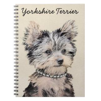 Yorkshire Terrier Puppy Painting Original Dog Art Spiral Notebook