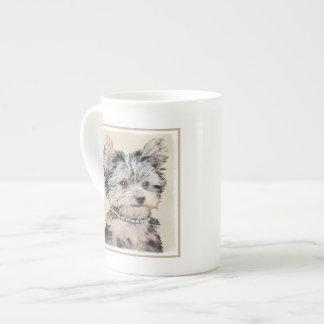 Yorkshire Terrier Puppy Painting Original Dog Art Tea Cup