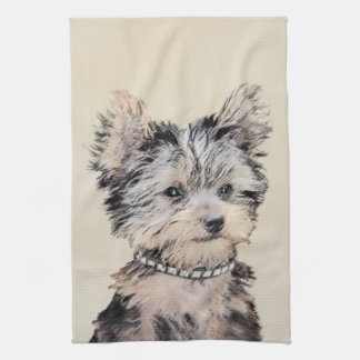 Yorkshire Terrier Puppy Painting Original Dog Art Tea Towel