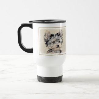Yorkshire Terrier Puppy Painting Original Dog Art Travel Mug