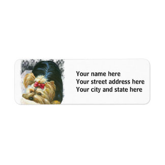 Yorkshire Terrier  Puppy Playing Return Address Label