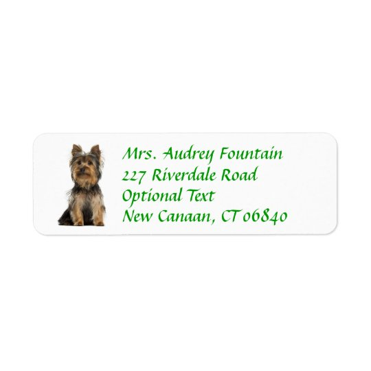Yorkshire Terrier Puppy Return Address Label