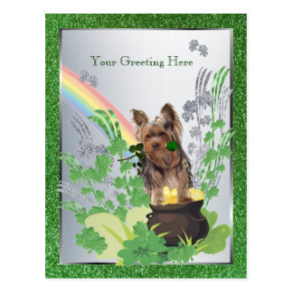 Yorkshire Terrier Puppy St Pattys - Customize It Postcard