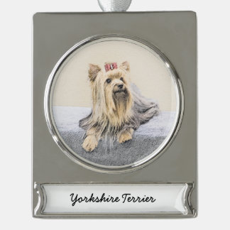 Yorkshire Terrier Silver Plated Banner Ornament
