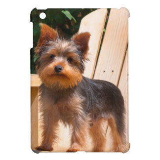 Yorkshire Terrier standing on wooden chair Cover For The iPad Mini