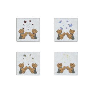 Yorkshire Terrier Stone Magnet Set