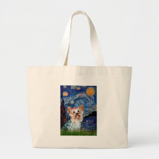 Yorkshire Terrier (T) - Starry Night (Vert.) Large Tote Bag