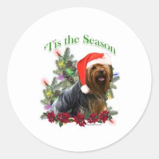 Yorkshire Terrier 'Tis Round Stickers