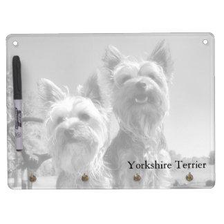 Yorkshire Terriers, Black & White, Horizontal Dry Erase Whiteboards