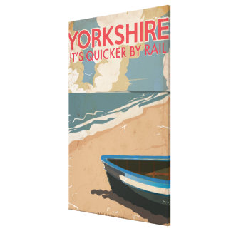 Yorkshire Vintage Railway Travel Poster Canvas Print