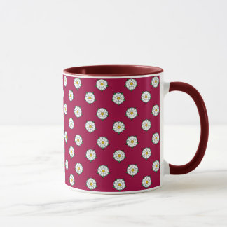 Yorkshire White Roses - Red Background Mug