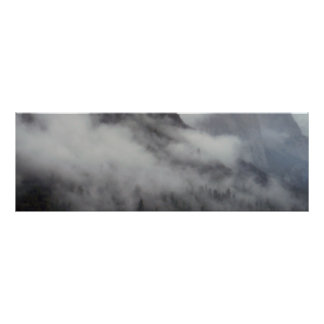 Yosemite National Forest cloud bank mountain art Poster