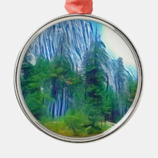 Yosemite No. 3 Mountain and Sun Silver-Colored Round Decoration