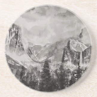Yosemite Park in Winter Beverage Coaster