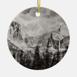 Yosemite Park in Winter Ceramic Ornament