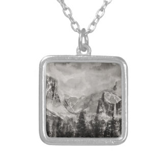 Yosemite Park in Winter Silver Plated Necklace