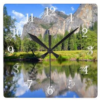 Yosemite Reflection Square Wall Clock