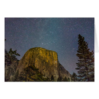Yosemite Valley El Capitan night sky Card