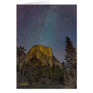 Yosemite Valley El Capitan night sky Card