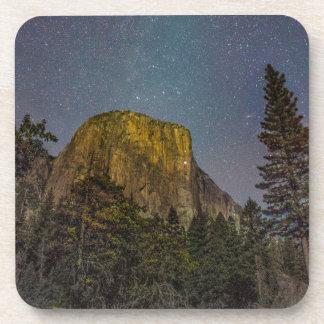 Yosemite Valley El Capitan night sky Drink Coaster