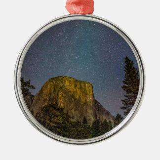 Yosemite Valley El Capitan night sky Metal Ornament