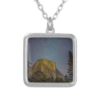 Yosemite Valley El Capitan night sky Silver Plated Necklace