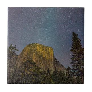 Yosemite Valley El Capitan night sky Tile