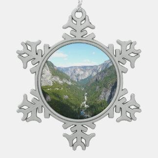 Yosemite Valley in Yosemite National Park Pewter Snowflake Decoration