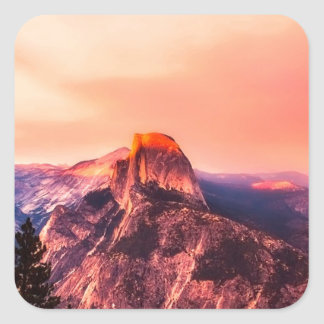 Yosemitie National Park Sundown Square Sticker