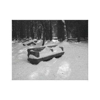 Yosemtie Falls snow covered bench Stretched Canvas Print