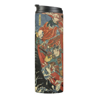 Yoshitsune vs. the Taira Ghosts: Vintage Woodblock Thermal Tumbler
