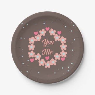 You and Me 7 Inch Paper Plate