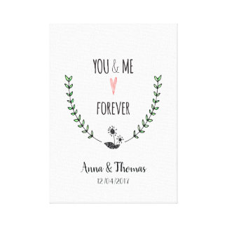 You and me forever romantic love personalized canvas print