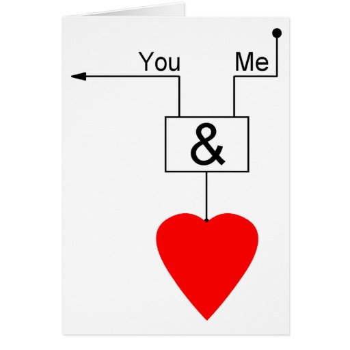You And Me Love Nerd Edition Digital Logic Greeting Card