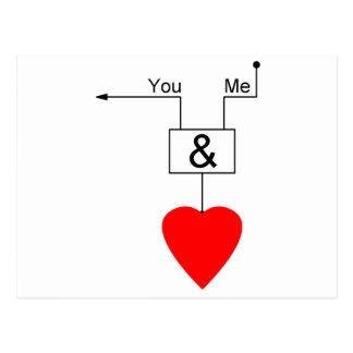 You And Me Love Nerd Edition Digital Logic Postcard