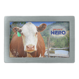 You are a Hero! Cow Belt Buckles
