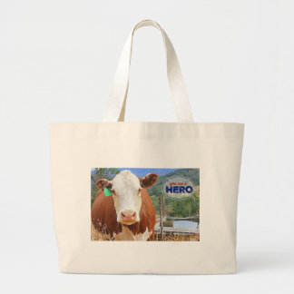 You are a Hero! Cow Large Tote Bag